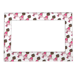 Little Girl Ballerina Ballet Dancer Pink Rose Tutu Magnetic Picture Frame
