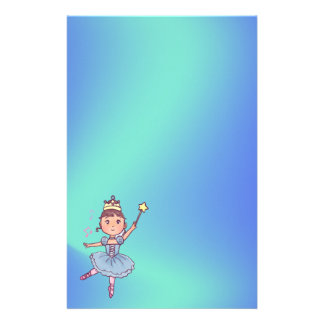 Little Girl Ballet Dancer With Crown and Wand Scra Stationery