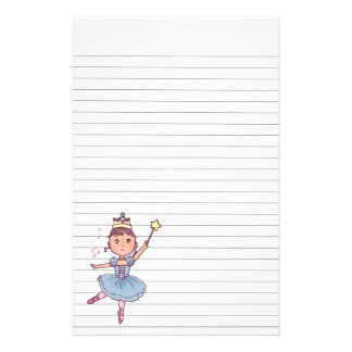 Little Girl Ballet Dancer With Crown and Wand Stationery