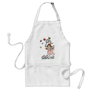 Little Girl Barefoot in the Park and Butterfly Net Adult Apron