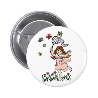 Little Girl Barefoot in the Park and Butterfly Net Pins