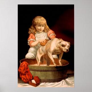 Little Girl Bathing Her Dog Poster