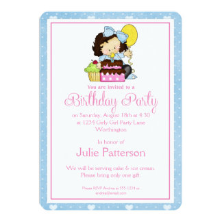 Little Girl Birthday Party Invitation Blue 1