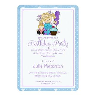 Little Girl Birthday Party Invitation Blue 2