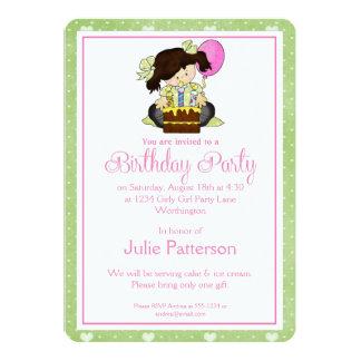 Little Girl Birthday Party Invitation Green