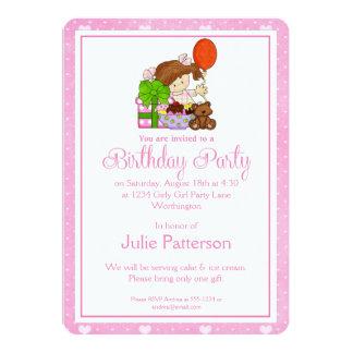 Little Girl Birthday Party Invitation Pink 1
