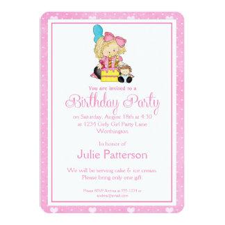 Little Girl Birthday Party Invitation Pink 2