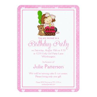 Little Girl Birthday Party Invitation Pink 3