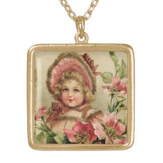 Little Girl Bonnet Vintage Gold Plated Necklace