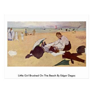 Little Girl Brushed On The Beach By Edgar Degas Postcard