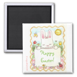 Little girl bunny with sign fridge magnets