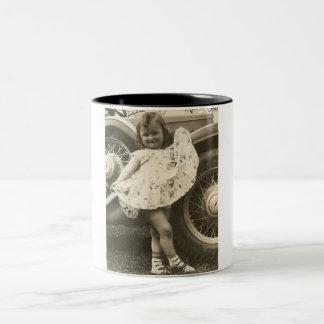 little girl by car with dress mug