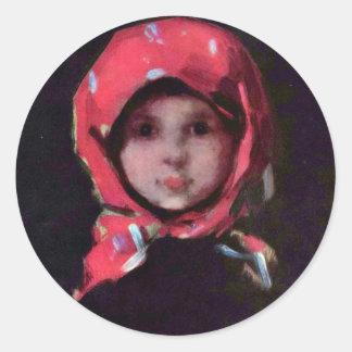 Little Girl By Grigorescu Nicolae Best Quality Round Sticker