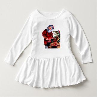 little girl  cajun santa christmas dress tshirt