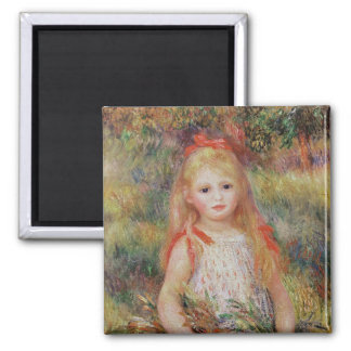Little Girl Carrying Flowers 2 Inch Square Magnet