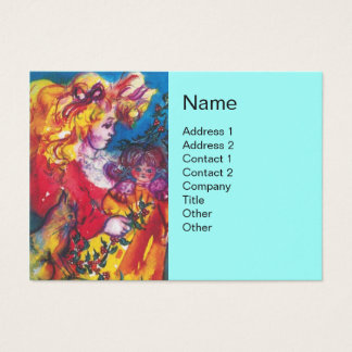 LITTLE GIRL,CAT AND PRETTY DOLL Light Blue Business Card