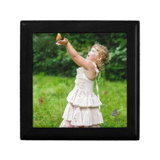 Little Girl Catching a Butterly Jewelry Box