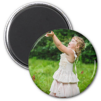 Little Girl Catching a Butterly Magnet