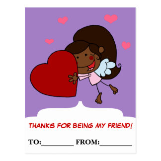 Little Girl Cherub Valentine Exchange Postcard