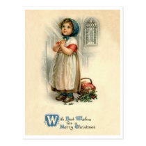 Little girl Christmas prayer, religious, vintage Postcard
