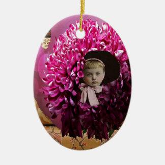 Little Girl Chrysanthemum Flower Double-Sided Oval Ceramic Christmas Ornament