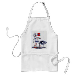 Little girl collecting eggs adult apron