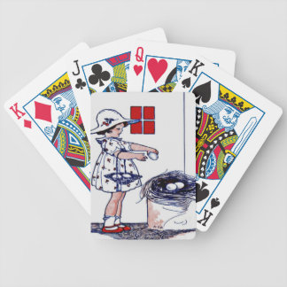 Little girl collecting eggs bicycle playing cards