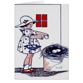 Little girl collecting eggs card
