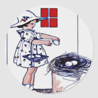Little girl collecting eggs classic round sticker