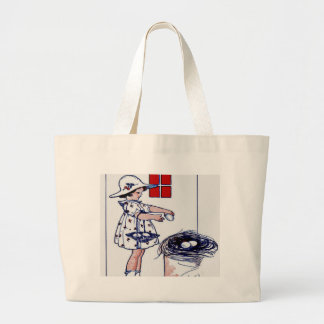 Little girl collecting eggs large tote bag