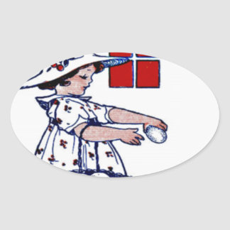 Little girl collecting eggs oval sticker