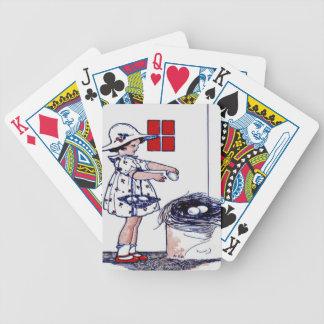 Little girl collecting eggs card decks