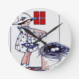 Little girl collecting eggs round clock