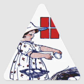 Little girl collecting eggs triangle sticker