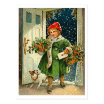 Little girl coming at Christmas eve with her dog Postcard