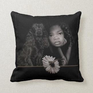 Little Girl & Dog Throw Pillows