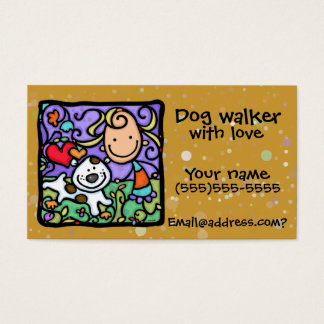 Little Girl Dog Walker Sitter Custom Business card