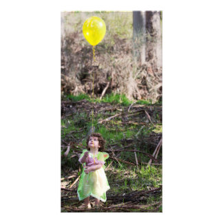 little girl dressed as A fairy with A balloon Card