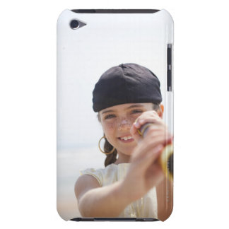 Little girl dressed as pirate on beach iPod touch case