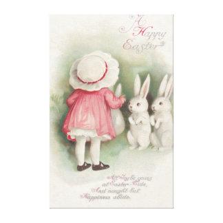 Little Girl Easter Bunny Rabbit Canvas Prints