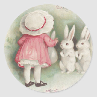 Little Girl Easter Bunny Rabbit Classic Round Sticker
