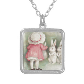 Little Girl Easter Bunny Rabbit Square Pendant Necklace