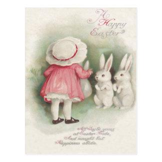 Little Girl Easter Bunny Rabbit Postcard
