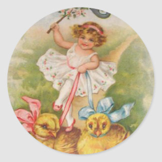 Little Girl Easter Chick Leash Classic Round Sticker