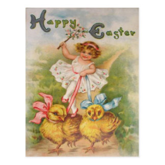 Little Girl Easter Chick Leash Postcard