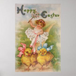 Little Girl Easter Chick Leash Poster