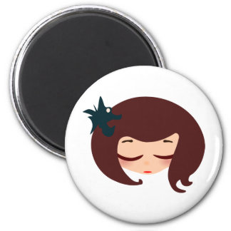 little girl face 2 inch round magnet