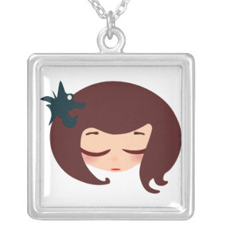 little girl face square pendant necklace
