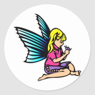 Little Girl Fairie Fairy Faerie Classic Round Sticker