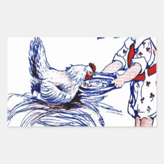 Little girl feeding a rooster rectangular sticker